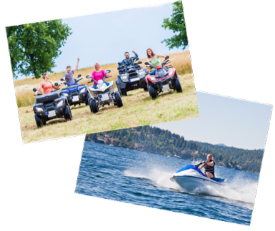 people riding recreational vehicles